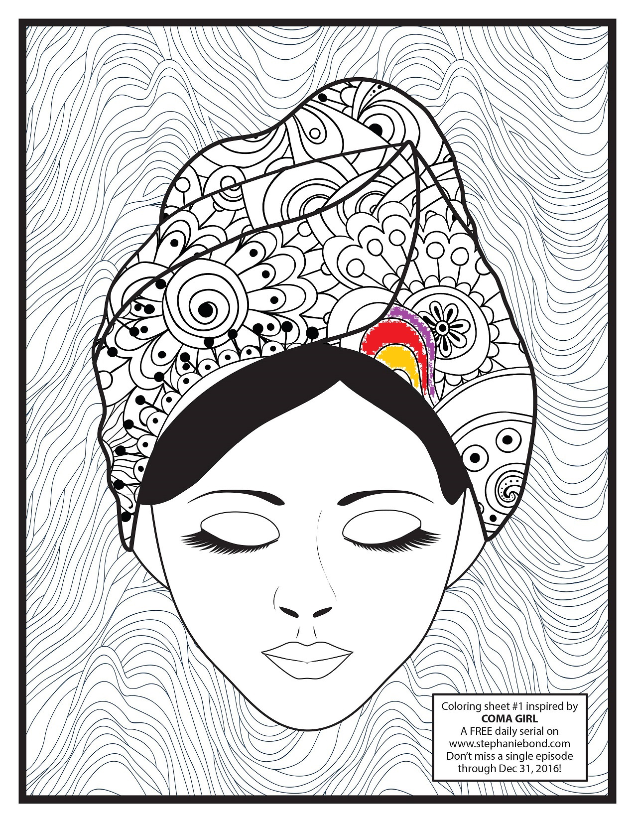 COMA GIRL coloring sheet 1 thumbnail-colored